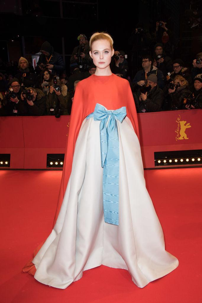 <p>We are not worthy! Elle Fanning took colour-blocking to whole new levels in a Valentino couture gown for the Berlin International Film Festival. <em>[Photo: Getty] </em> </p>