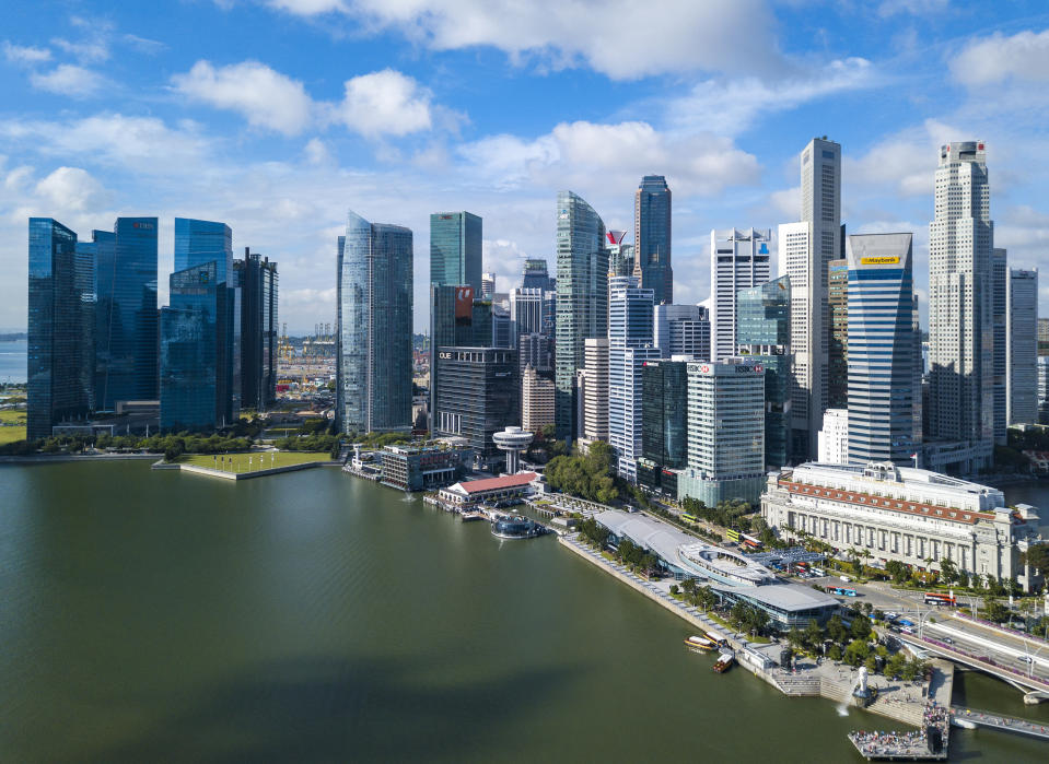 Singapore, 16 January 2019 : Aerial view of Singapore financial building in Singapore central business district area