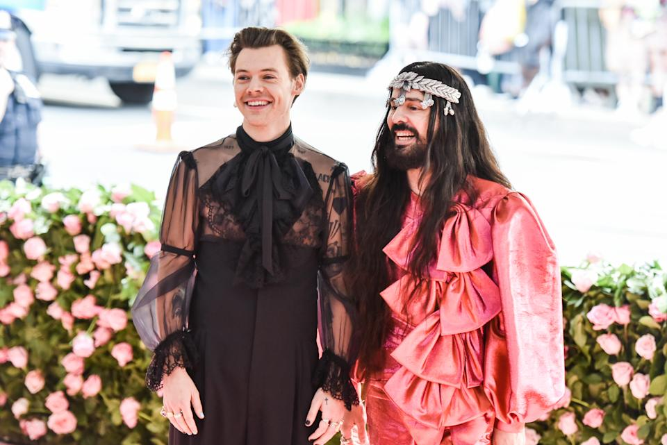 Harry Styles and Alessandro Michele walking on the red carpet at The Metropolitan Museum of Art Costume Institute Benefit celebrating the opening of Camp: Notes on Fashion held at The Metropolitan Museum of Art in New York, NY, on May 6, 2019. (Photo by Anthony Behar/Sipa USA)