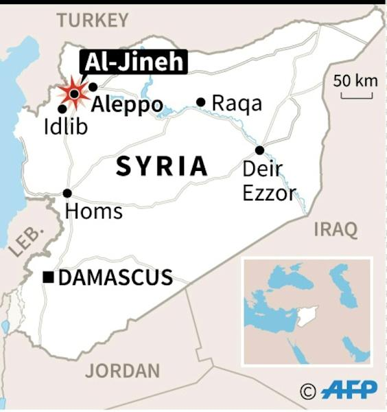 Map showing location of Al-Jineh in northern Syria where the US conducted an air strike