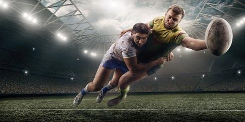 """<span class=""""caption"""">The long-term health effects in professional contact sports have come under global scrutiny since the 2015 $1 billion lawsuit filed by former professional American football players against the NFL</span> <span class=""""attribution""""><a class=""""link rapid-noclick-resp"""" href=""""https://www.shutterstock.com/image-photo/two-male-rugby-players-fight-ball-1151091581"""" rel=""""nofollow noopener"""" target=""""_blank"""" data-ylk=""""slk:Shutterstock"""">Shutterstock</a></span>"""