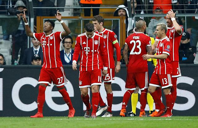 Soccer Football - Champions League Round of 16 Second Leg - Besiktas vs Bayern Munich - Vodafone Arena, Istanbul, Turkey - March 14, 2018 Bayern Munich's Sandro Wagner celebrates with team mates after scoring their third goal REUTERS/Osman Orsal