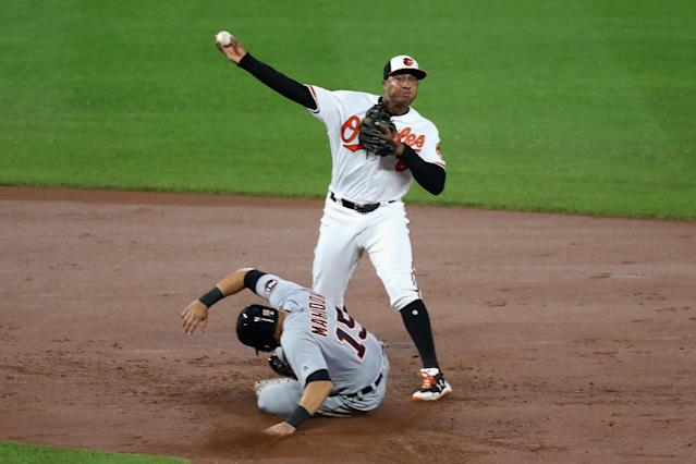 Jonathan Schoop throwing to first and acting as the filling in the Orioles' triple play sandwich. (Getty Images)