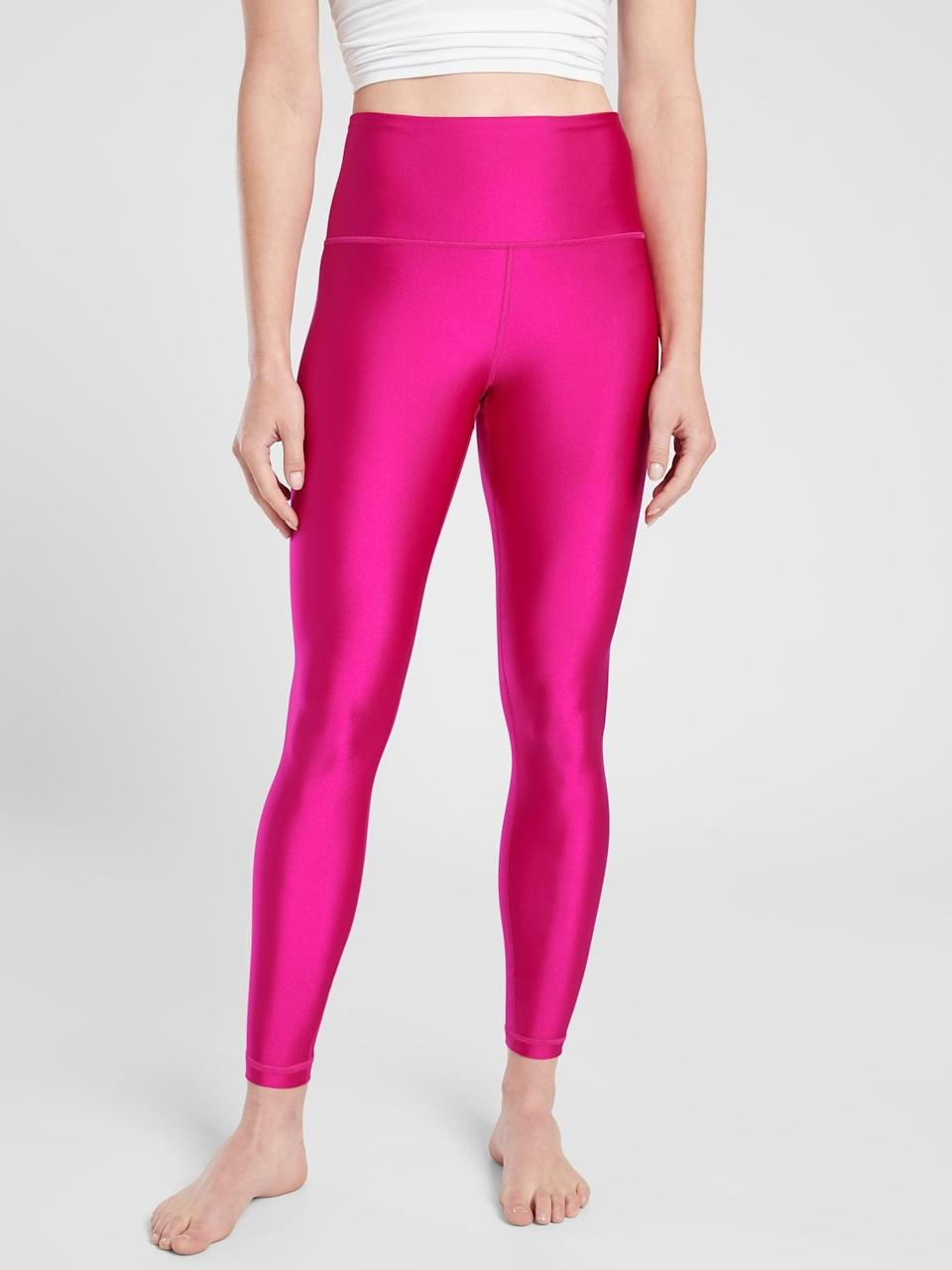 <p>No matter what class you're taking, you'll surely shine in this <span>Athleta Elation Shine Tight</span> ($80, originally $98), coming in five shimmery shades. </p>