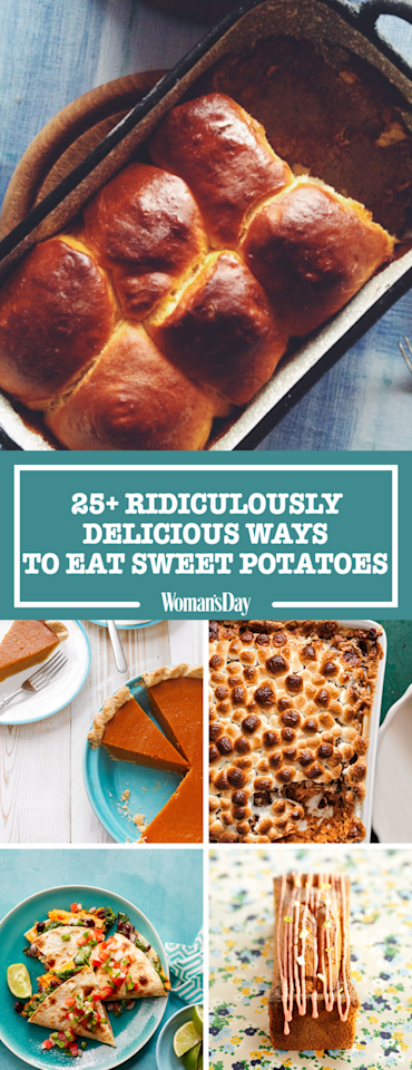 """<p>Save these ridiculously delicious ways to eat sweet potatoes for later by pinning this image and <a rel=""""nofollow"""" href=""""https://www.pinterest.com/womansday/%E2%80%8B"""">follow <em>Woman's Day</em> on Pinterest</a> for more.<span></span></p>"""