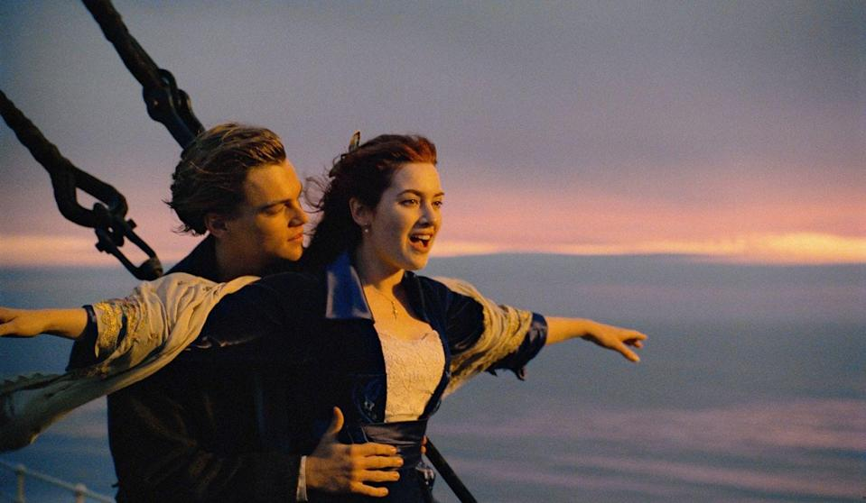 """<p><em>Titanic</em> has all the makings of a boilerplate love story: Jack (Leonardo DiCaprio) is from the wrong side of the tracks, Rose (Kate Winslet) comes from high society, and they meet by chance and fall in love. But set against the spectacle of the sinking of the historic ship — and with <a href=""""https://www.goodhousekeeping.com/life/entertainment/g23120214/best-love-songs/"""" rel=""""nofollow noopener"""" target=""""_blank"""" data-ylk=""""slk:greatest-love-song-of-all-time"""" class=""""link rapid-noclick-resp"""">greatest-love-song-of-all-time</a> contender """"My Heart Will Go On"""" in the background — like Jack, this movie moves beyond its seemingly plain origins. </p><p><a class=""""link rapid-noclick-resp"""" href=""""https://www.amazon.com/Titanic-Leonardo-DiCaprio/dp/B00A3ZJIY6?tag=syn-yahoo-20&ascsubtag=%5Bartid%7C10063.g.34933377%5Bsrc%7Cyahoo-us"""" rel=""""nofollow noopener"""" target=""""_blank"""" data-ylk=""""slk:WATCH ON AMAZON"""">WATCH ON AMAZON</a> <a class=""""link rapid-noclick-resp"""" href=""""https://go.redirectingat.com?id=74968X1596630&url=https%3A%2F%2Fitunes.apple.com%2Fus%2Fmovie%2Ftitanic%2Fid545892907&sref=https%3A%2F%2Fwww.redbookmag.com%2Flife%2Fg34933377%2Fbest-romantic-movies%2F"""" rel=""""nofollow noopener"""" target=""""_blank"""" data-ylk=""""slk:WATCH ON ITUNES"""">WATCH ON ITUNES</a></p>"""