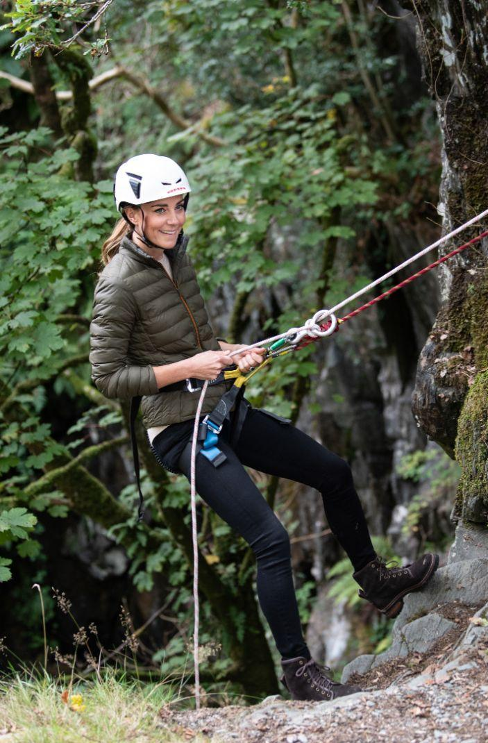Kate Middleton visits the Windermere Adventure Training Centre with RAF Cadets, taking part in mountain biking and abseiling, Sept. 21. - Credit: Andy Stenning/Splash News