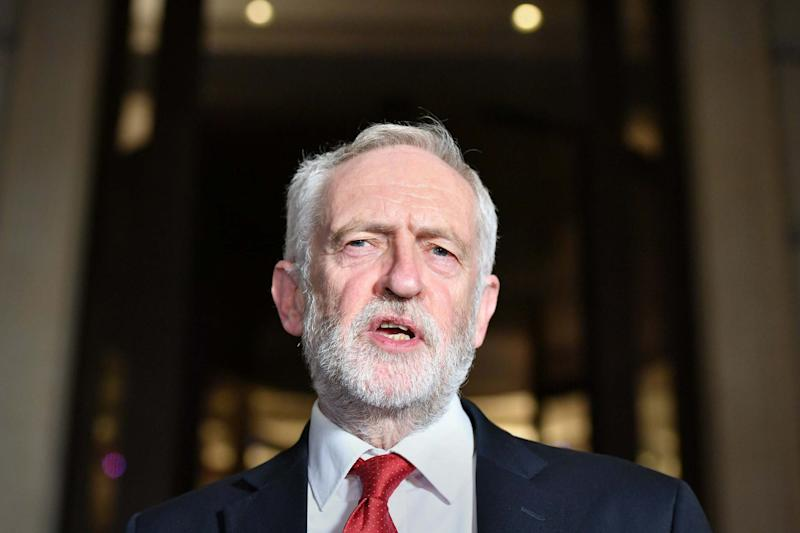 Labour Party leader Jeremy Corbyn speaking after a Labour clause V meeting on the manifesto at Savoy Place in London (PA)