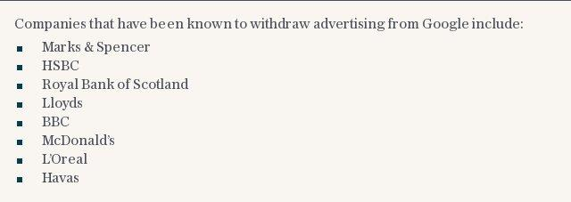 Companies that have withdrawn advertising from Google