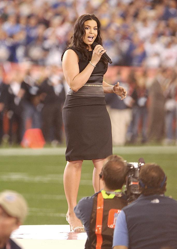 """Reigning """"American Idol"""" Jordin Sparks performs in front of her biggest audience ever during the Super Bowl pre-game show. Jeff Kravitz/<a href=""""http://www.filmmagic.com"""" target=""""new"""">FilmMagic.com</a> - February 3, 2008"""