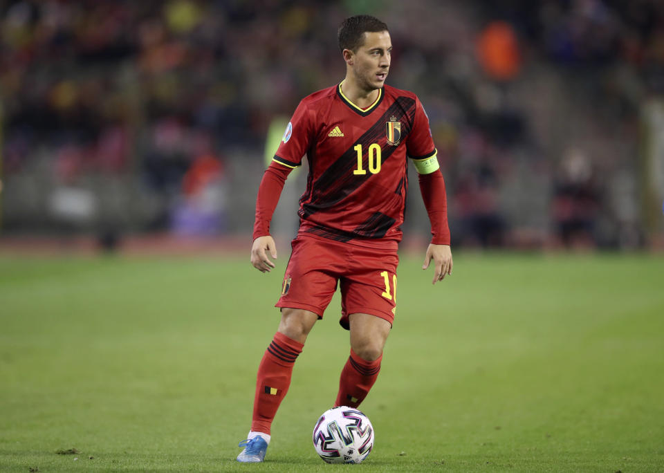 Belgium's Eden Hazard runs with the ball during the Euro 2020 group I qualifying soccer match between Belgium and Cyprus at the King Baudouin stadium in Brussels, Tuesday, Nov. 19, 2019. (AP Photo/Francisco Seco)
