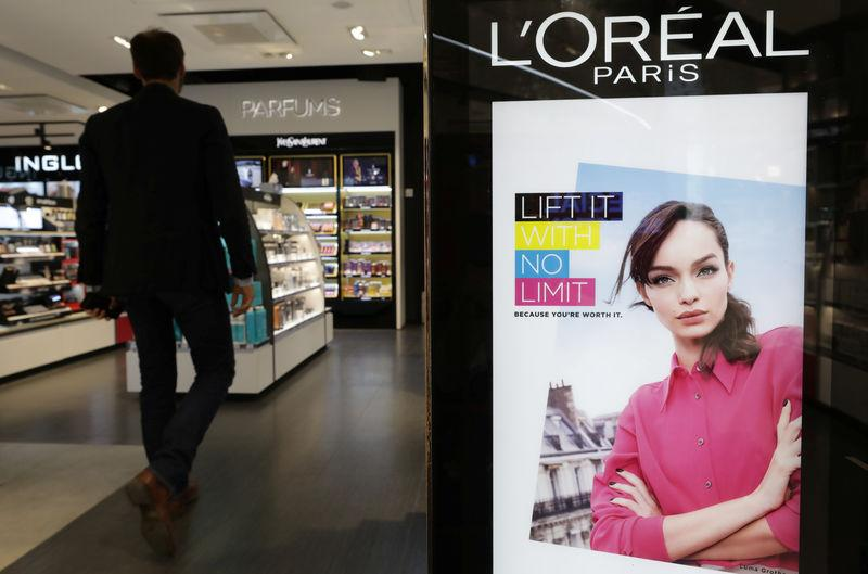 A cosmetic display of French cosmetics group L'Oreal is seen at a duty free shop at the Nice International Airport, in Nice