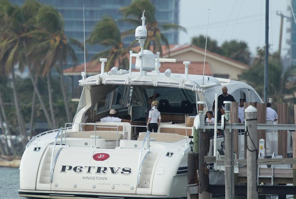 Last week, Bey and Jay hung out on this yacht, along with their kids, in Miami. (Photo: Splash News)