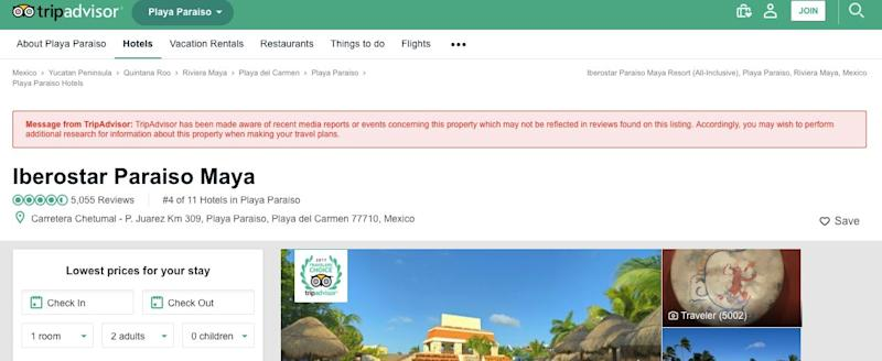A screenshot of the new warning TripAdvisor is affixing to some businesses' pages.