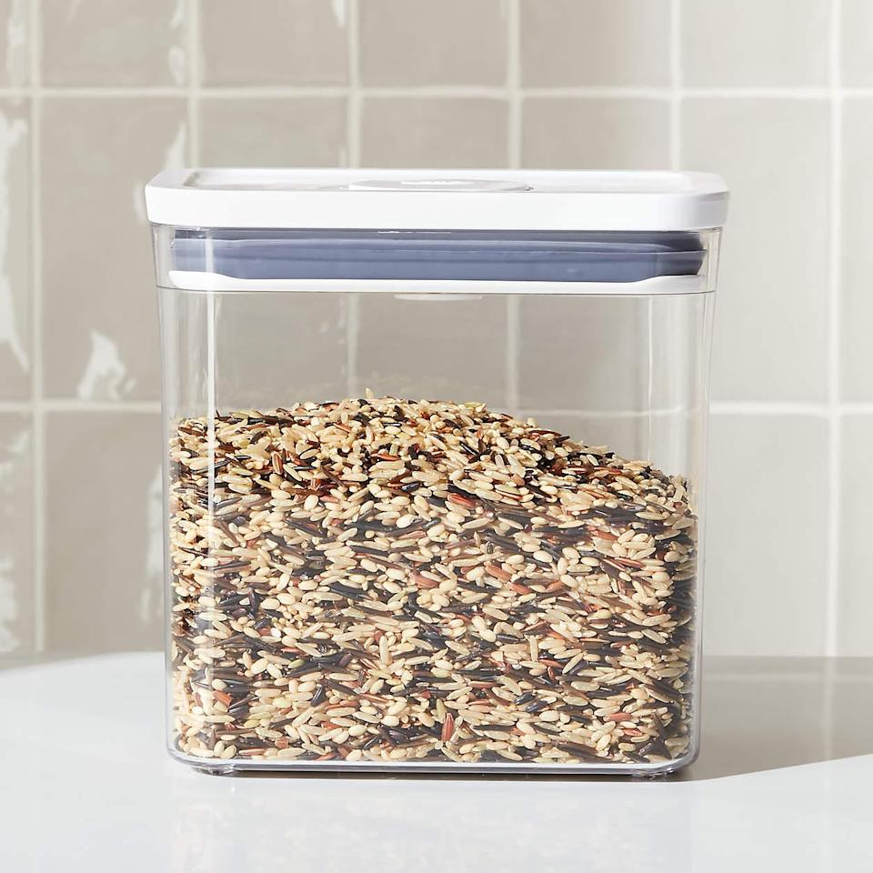 "<h2>OXO Good Grips 1.7-Qt. Rectangular Container</h2><br>Store your grains, seeds, and nuts in this tall clear plastic vessel — an easy way to see what's inside. <br><br><strong>OXO Good Grips</strong> 1.7-Qt. Rectangular Container, $, available at <a href=""https://go.skimresources.com/?id=30283X879131&url=https%3A%2F%2Fwww.crateandbarrel.com%2Foxo-pop-1.7-qt.-rectangular-container%2Fs289432"" rel=""nofollow noopener"" target=""_blank"" data-ylk=""slk:Crate & Barrel"" class=""link rapid-noclick-resp"">Crate & Barrel</a>"