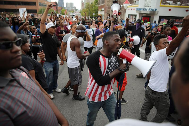 Missouri State Rep. Bruce Franks Jr. leads a protest in St. Louis last month.