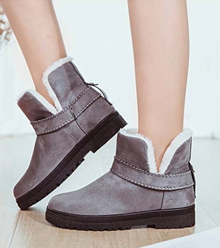 PAMRAY suede boots in grey. Image via Amazon.