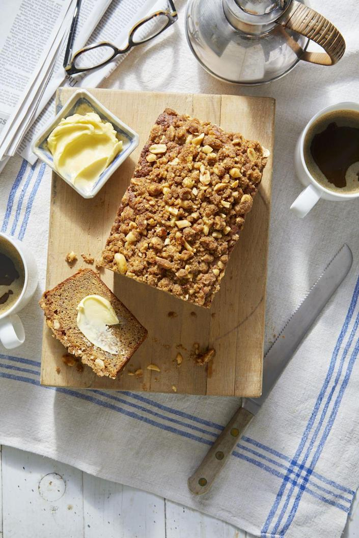 """<p>You've had banana bread before, but the salted peanut streusel on top of this one takes it to the next level. Share it with friends and they'll be begging for the recipe.</p><p><strong><a href=""""https://www.countryliving.com/food-drinks/a34946532/banana-bread-with-salted-peanut-streusel-recipe/"""" rel=""""nofollow noopener"""" target=""""_blank"""" data-ylk=""""slk:Get the recipe"""" class=""""link rapid-noclick-resp"""">Get the recipe</a>.</strong></p><p><a class=""""link rapid-noclick-resp"""" href=""""https://www.amazon.com/USA-Pan-1140LF-Bakeware-Aluminized/dp/B0029JQEIC/?tag=syn-yahoo-20&ascsubtag=%5Bartid%7C10050.g.35246097%5Bsrc%7Cyahoo-us"""" rel=""""nofollow noopener"""" target=""""_blank"""" data-ylk=""""slk:SHOP LOAF PANS"""">SHOP LOAF PANS</a><br></p>"""