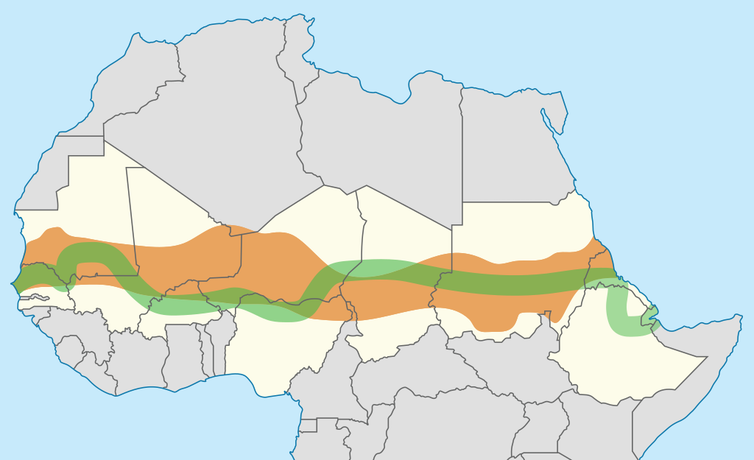 Map of Africa with green line and shaded orange bit.