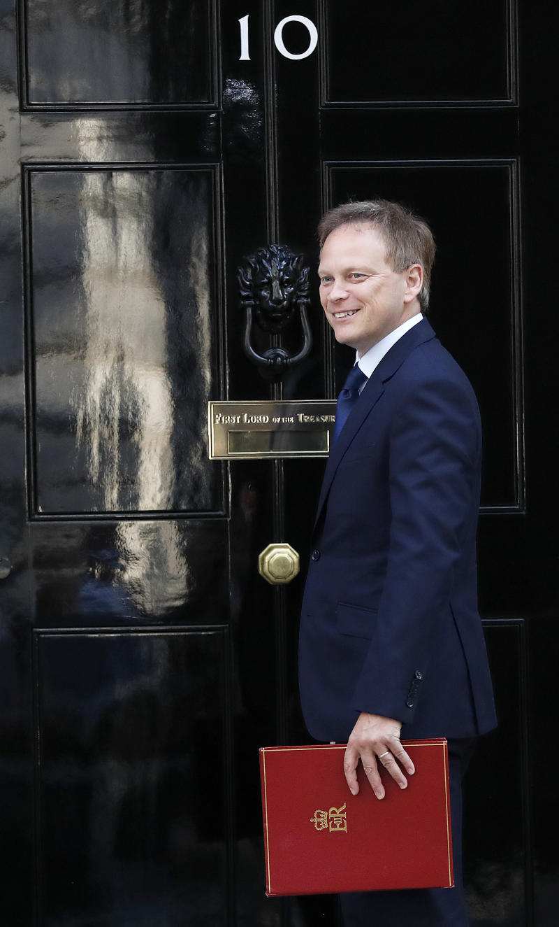 Britain's Secretary of State for Transport Grant Shapps arrives for a Cabinet meeting at 10 Downing Street in London, Thursday, July 25, 2019. Newly appointed Prime Minister Boris Johnson assembles members of his new Cabinet, meeting for the first time Thursday. (AP Photo/Frank Augstein)
