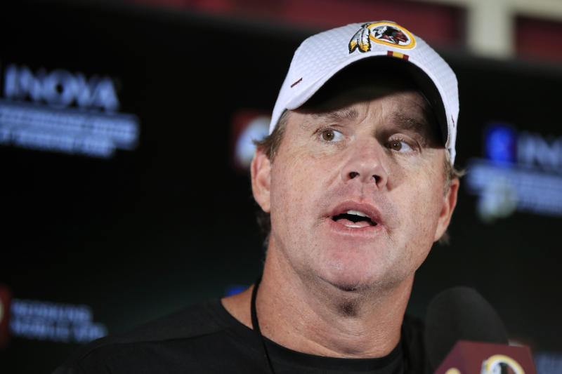 Washington Redskins head coach Jay Gruden speaks to reporters following an NFL football minicamp at Redskins Park in Ashburn, Va., Wednesday, June 5, 2019. (AP Photo/Manuel Balce Ceneta)