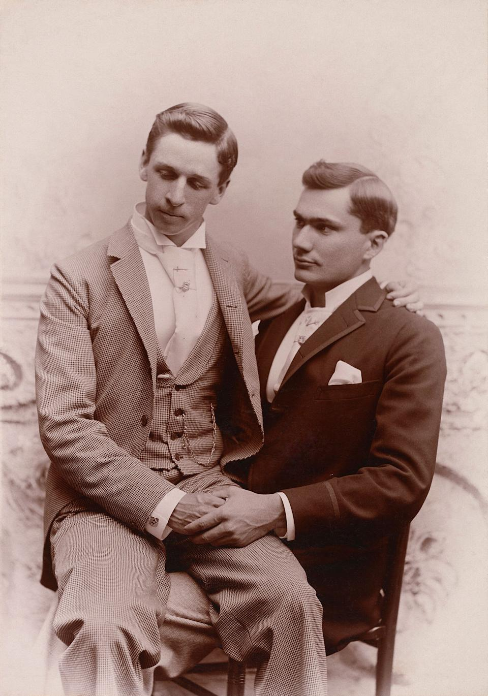 """Nini and Treadwell first purchased a photograph of two men in an intimate pose together, circa 1920, from a Texas antique shop in 2000. (Photo: Courtesy of the Nini-Treadwell Collection © """"Loving"""" by 5 Continents Editions)"""