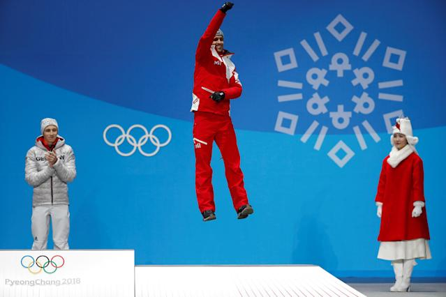 Medals Ceremony - Nordic Combined Events - Pyeongchang 2018 Winter Olympics - Men's Individual 10km - Medals Plaza - Pyeongchang, South Korea - February 15, 2018 - Bronze medalist Lukas Klapfer of Austria on the podium. REUTERS/Kim Hong-Ji TPX IMAGES OF THE DAY