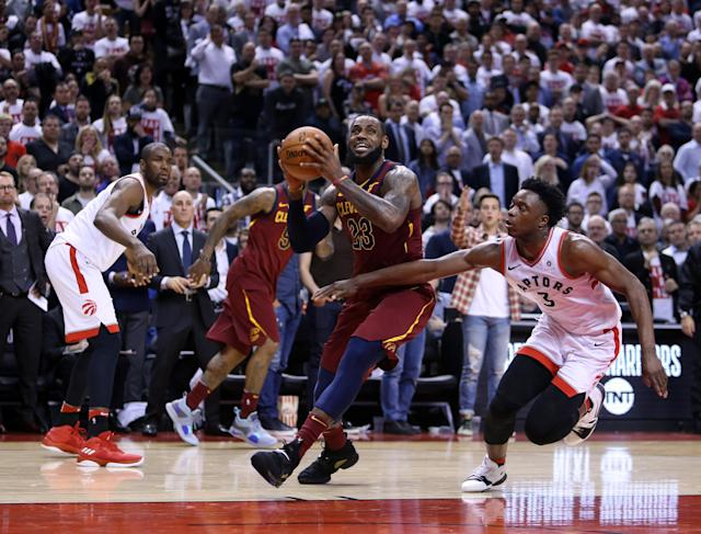 LeBron James dropped 43 points in Cleveland's dominant 128-110 win in Game 2 on Thursday in Toronto. (Getty Images)