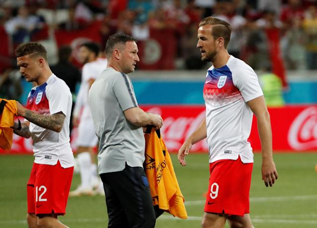 Soccer Football - World Cup - Group G - Tunisia vs England - Volgograd Arena, Volgograd, Russia - June 18, 2018 England's Harry Kane and Kieran Trippier warm up before the match REUTERS/Jorge Silva