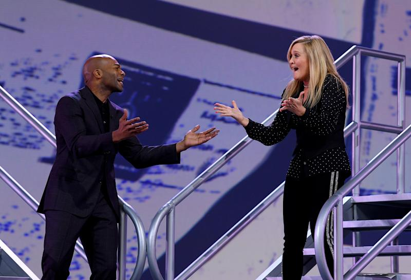 """Brandon Victor Dixon and Samantha Bee sing at the """"Not The White House Correspondents Dinner"""" Friday in Washington. (Dimitrios Kambouris via Getty Images for TBS)"""