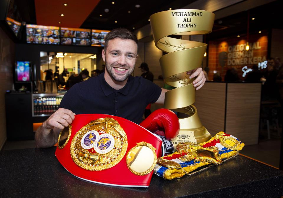 EDINBURGH, SCOTLAND - DECEMBER 3: Scottish boxer Josh Taylor, WBO and IBF World light welterweight champion is pictured during a photocall at German Doner Kebab, on December 3, 2019, in Edinburgh, Scotland. (Photo by Ross MacDonald / SNS Group via Getty Images)