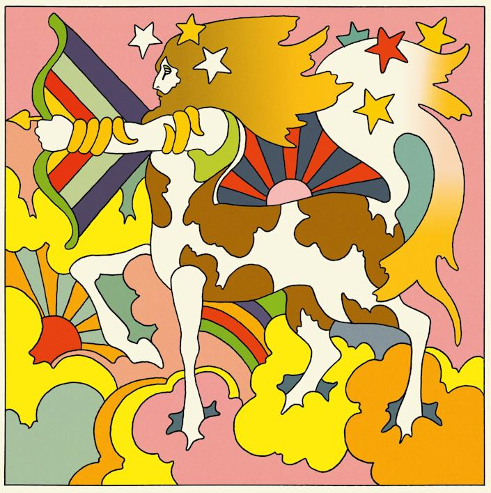 """A psychedelic image of the Sagittarius symbol by John Alcorn from Sydney Omarr's """"Astrological Revelations About You."""""""