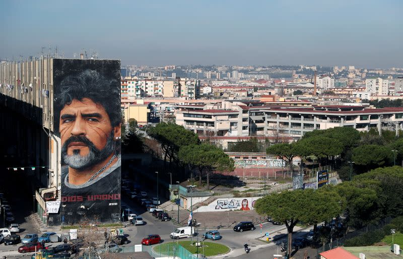 A general view shows a mural by artist Jorit depicting late Argentine soccer legend Diego Maradona, in Naples