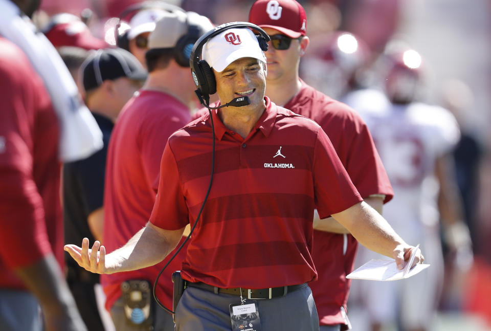 AMES, IA - SEPTEMBER 15: Assistant head coach Shane Beamer of the Oklahoma Sooners coaches from the sidelines in the second half of play at Jack Trice Stadium on September 15, 2018 in Ames, Iowa. Oklahoma Sooners won 37-27 over the Iowa State Cyclones.(Photo by David Purdy/Getty Images)