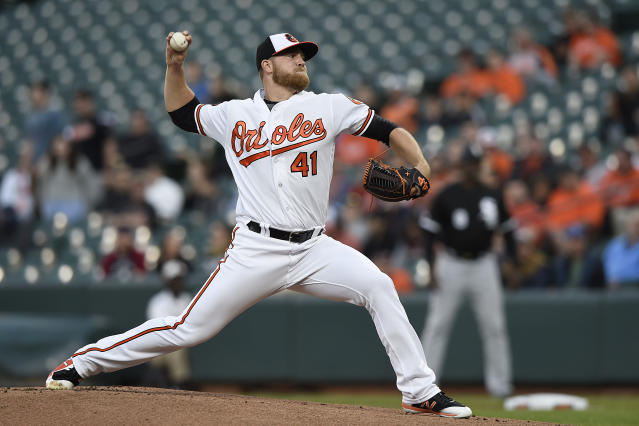 Baltimore Orioles pitcher David Hess delivers against the Chicago White Sox in the first inning of a baseball game, Monday, April 22, 2019, in Baltimore. (AP Photo/Gail Burton)