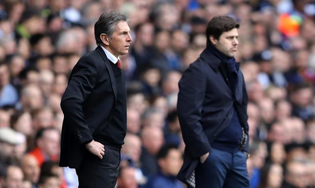 <p>The ghost of Saints' past: Mauricio Pochettino goes up against current Southampton boss Claude Puel </p>