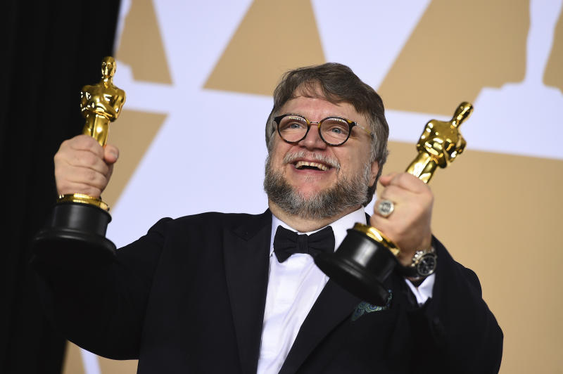 "<p> Guillermo del Toro, winner of the awards for best director and best picture for ""The Shape of Water,"" poses in the press room at the Oscars on Sunday, March 4, 2018, at the Dolby Theatre in Los Angeles. (Photo by Jordan Strauss/Invision/AP) </p>"