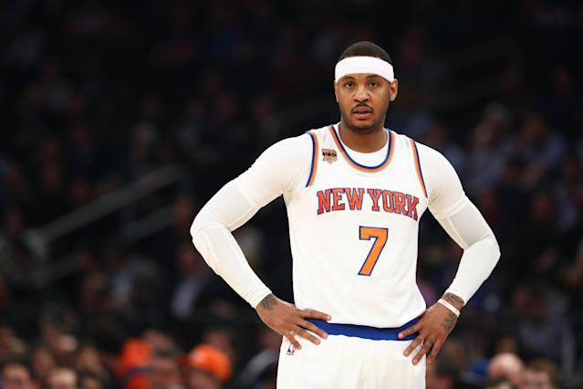 "Yup, <a class=""link rapid-noclick-resp"" href=""/nba/players/3706/"" data-ylk=""slk:Carmelo Anthony"">Carmelo Anthony</a> is still a Knick. (AP)"