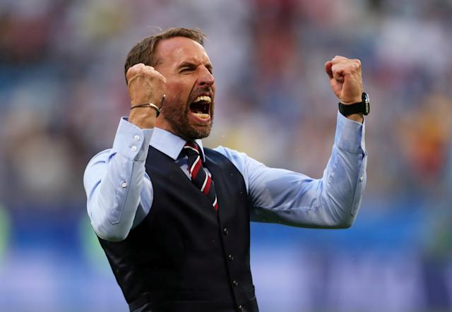 """Soccer Football - World Cup - Quarter Final - Sweden vs England - Samara Arena, Samara, Russia - July 7, 2018 England manager Gareth Southgate celebrates after the match REUTERS/Lee Smith TPX IMAGES OF THE DAY. SEARCH """"FIFA BEST"""" FOR ALL PICTURES. TPX IMAGES OF THE DAY"""
