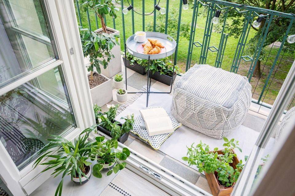 <p>Even the smallest balcony can become your own personal reading section by adding a comfy pouf for sitting and a table to hold your tea. </p>
