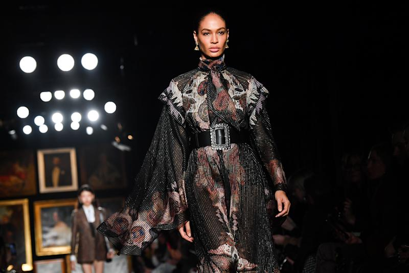 MILAN, ITALY - FEBRUARY 21: Joan Smalls walks the runway during the Etro fashion show as part of Milan Fashion Week Fall/Winter 2020-2021 on February 21, 2020 in Milan, Italy. (Photo by Jacopo Raule/WireImage)
