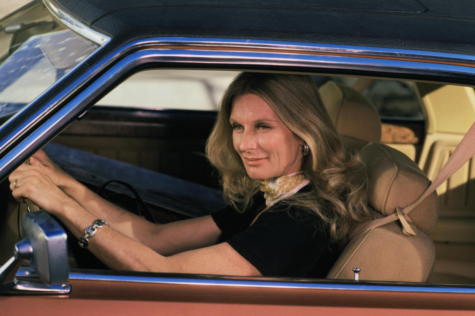 os Angeles, California: Somewhere in the Hollywood area, actress Cloris Leachman is shown driving her car.