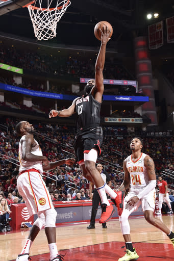 HOUSTON, TX - FEBRUARY 25 : James Harden #13 of the Houston Rockets shoots the ball against the Atlanta Hawks on February 25, 2019 at the Toyota Center in Houston, Texas. (Photo by Bill Baptist/NBAE via Getty Images)