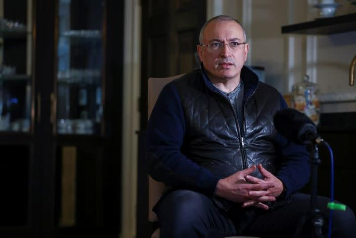 Former Russian tycoon Mikhail Khodorkovsky speaks during an interview with Reuters in central London, Britain