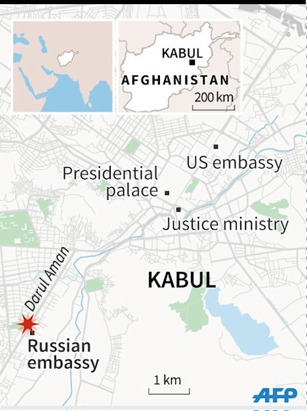 Map of Kabul in Afghanistan locating the Darul Aman road, where a suicide bomber killed several people. (AFP Photo/Iris Royer de Vericourt)