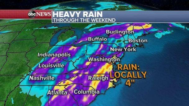 PHOTO: Some spots may see 4 inches of rain over the weekend. (ABC News)