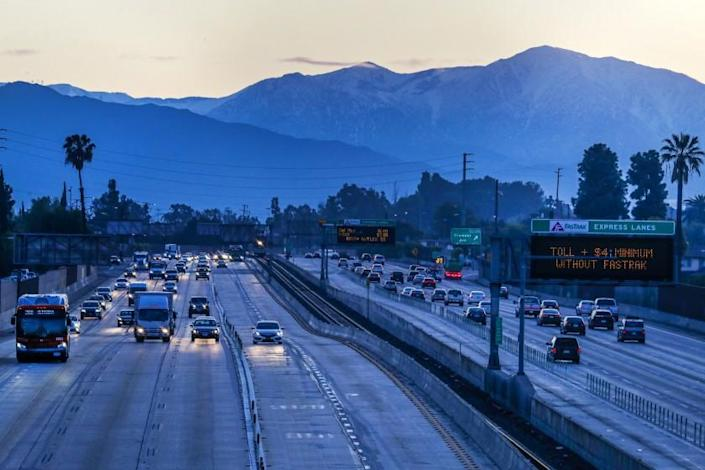 "On the first day of Los Angeles County's ""Safer at Home"" order, traffic is light on Interstate 10. <span class=""copyright"">(Irfan Khan / Los Angeles Times)</span>"