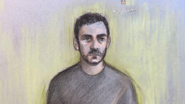 PHOTO: A court sketch by Elizabeth Cook shows lorry driver Maurice Robinson, 25, at Chelmsford Magistrates' Court in England, on Oct. 28, 2019. (Elizabeth Cook/PA via AP)