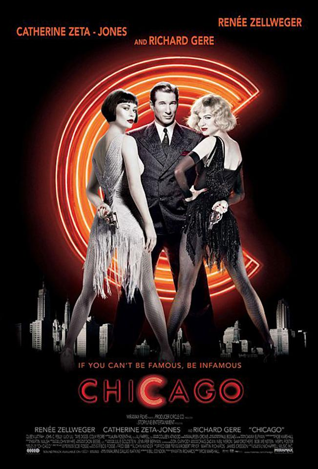<p>This film received 13 nominations, which tied the record for a musical set by 1964's <i>Mary Poppins</i>. (<i>La La Land</i> set a new record this year with 14 noms.) <i>Chicago</i> won six Oscars, including one for supporting actress Catherine Zeta-Jones. Rob Marshall directed the film, which was based on the 1975 Broadway musical by John Kander and Fred Ebb. (Photo: Miramax) </p>