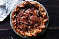 """You've heard of <a href=""""https://www.epicurious.com/recipes/food/views/apple-pie-with-cheddar-crust-354970?mbid=synd_yahoo_rss"""" rel=""""nofollow noopener"""" target=""""_blank"""" data-ylk=""""slk:cheese on apple pie"""" class=""""link rapid-noclick-resp"""">cheese on apple pie</a>. Now get ready for bacon. Woven into a lattice top, it adds a salty, savory counterpoint to the sweet, soft apples underneath. <a href=""""https://www.epicurious.com/recipes/food/views/bacon-latticed-apple-pie?mbid=synd_yahoo_rss"""" rel=""""nofollow noopener"""" target=""""_blank"""" data-ylk=""""slk:See recipe."""" class=""""link rapid-noclick-resp"""">See recipe.</a>"""